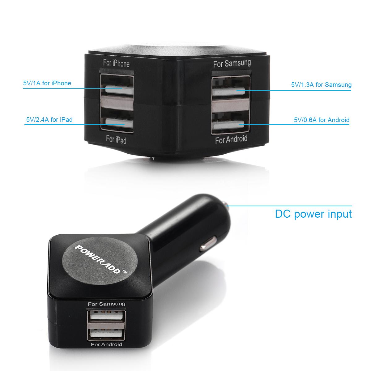 4 port usb fast car charger power adapter for samsung. Black Bedroom Furniture Sets. Home Design Ideas
