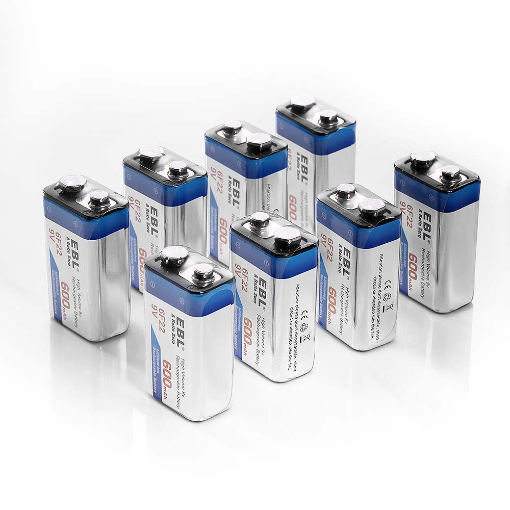 8 pack ebl 6f22 9v 600mah lithium ion rechargeable battery block ebay. Black Bedroom Furniture Sets. Home Design Ideas