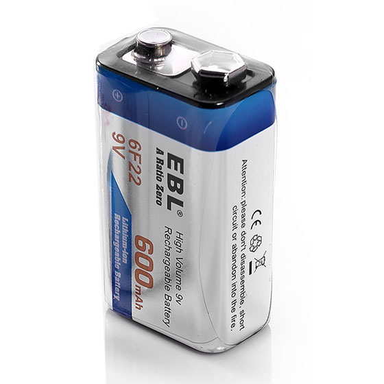 8 pack ebl 6f22 9v 600mah lithium ion rechargeable battery block ebay. Black Bedroom Furniture Sets. Home Design Ideas