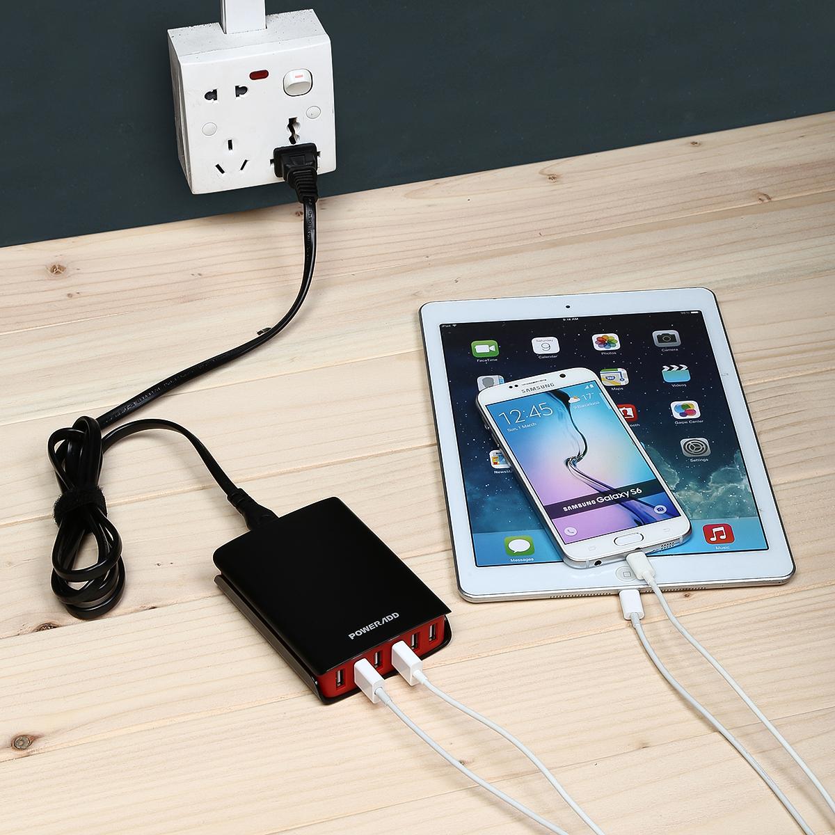 Multi usb 6 port charger desktop rapid 50 watt charging Cell phone charging station