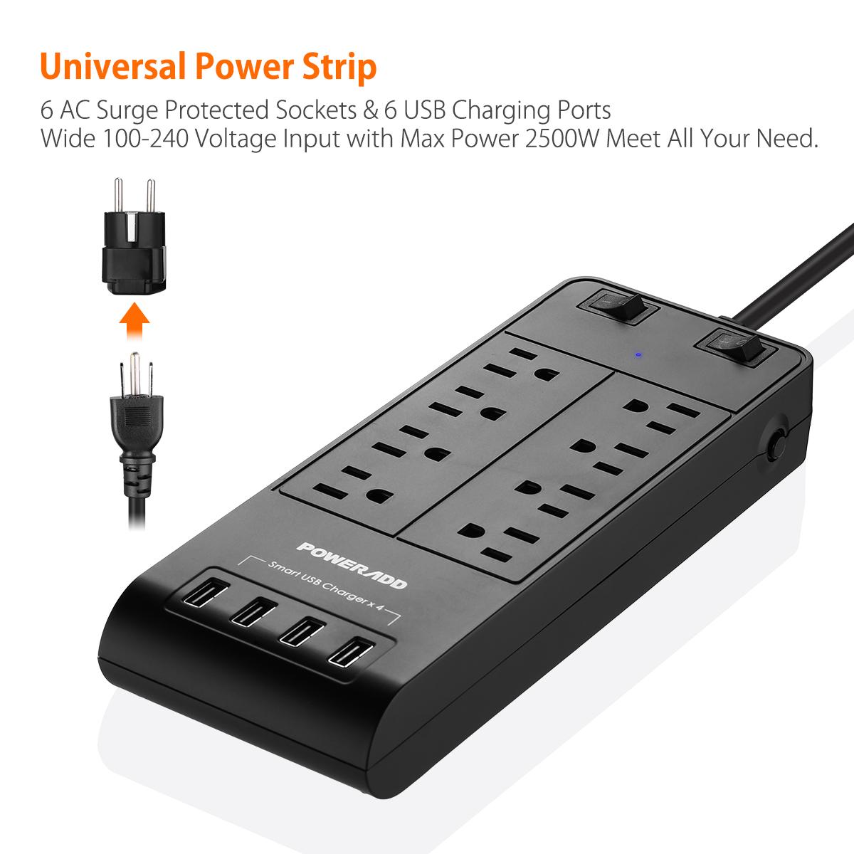 6ft 8 outlet power strip 4 usb charging port with surge protector lightningproof ebay. Black Bedroom Furniture Sets. Home Design Ideas