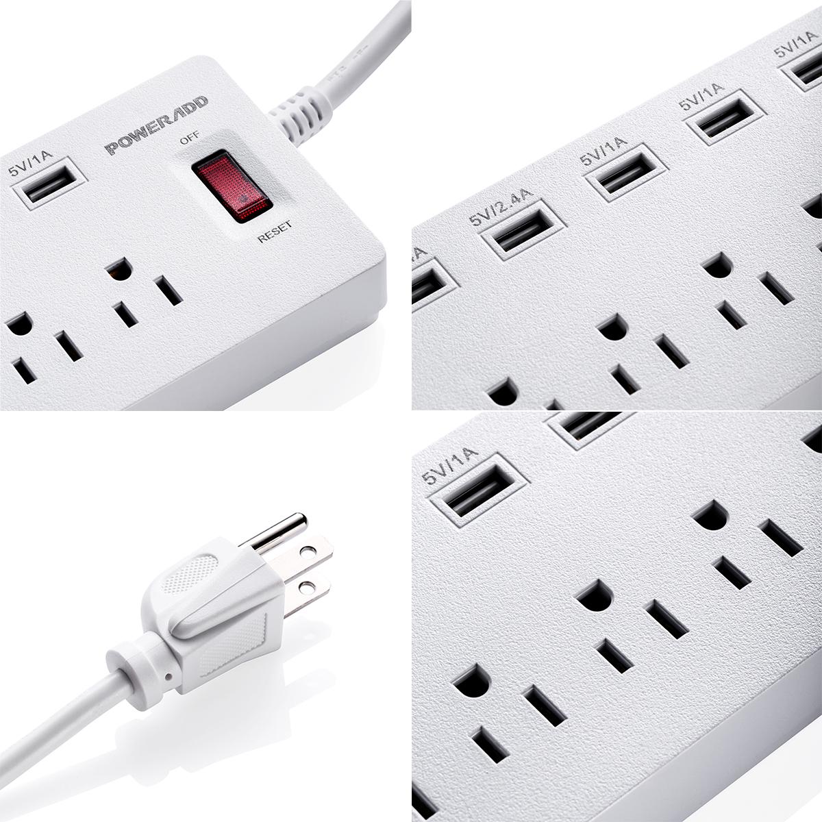6ft 6 outlet 6 usb charging port power strip with surge protector lightningproof ebay. Black Bedroom Furniture Sets. Home Design Ideas