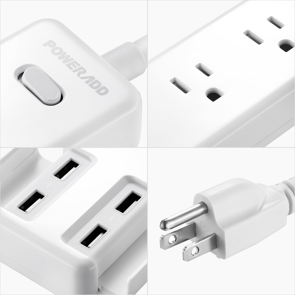 poweradd 5ft 3 outlet 4 usb port power strip with surge protector lightningproof ebay. Black Bedroom Furniture Sets. Home Design Ideas