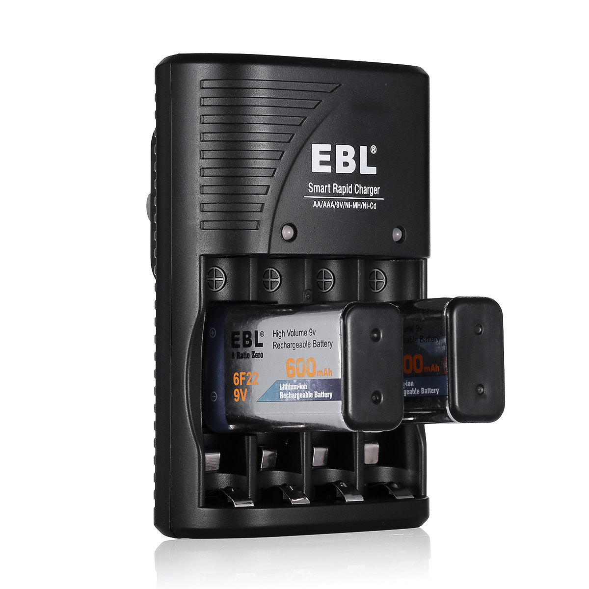 EBL 4 Slot Battery Charger For AA AAA 9V NiMH NiCD Li-ion ...