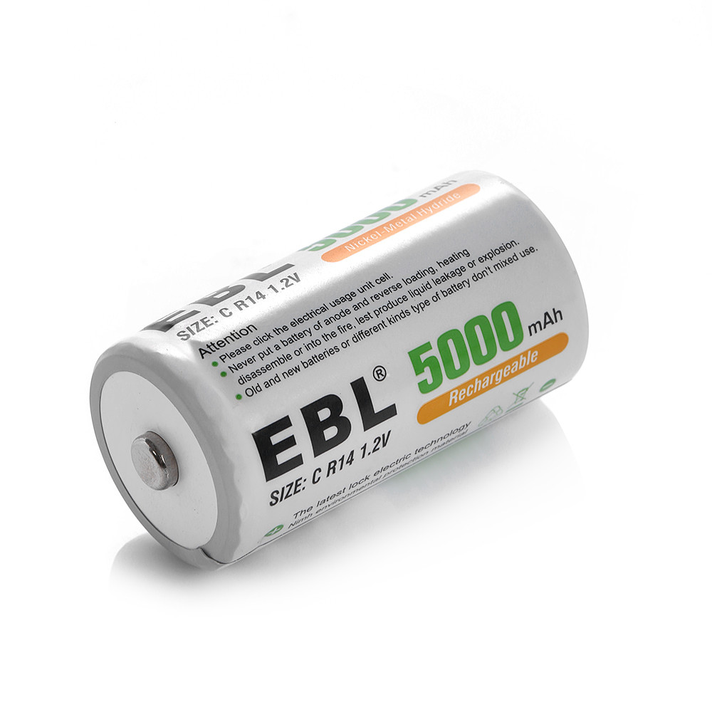 4-pack EBL C Size 5000mAh 1.2V Ni-MH Rechargeable Battery ...