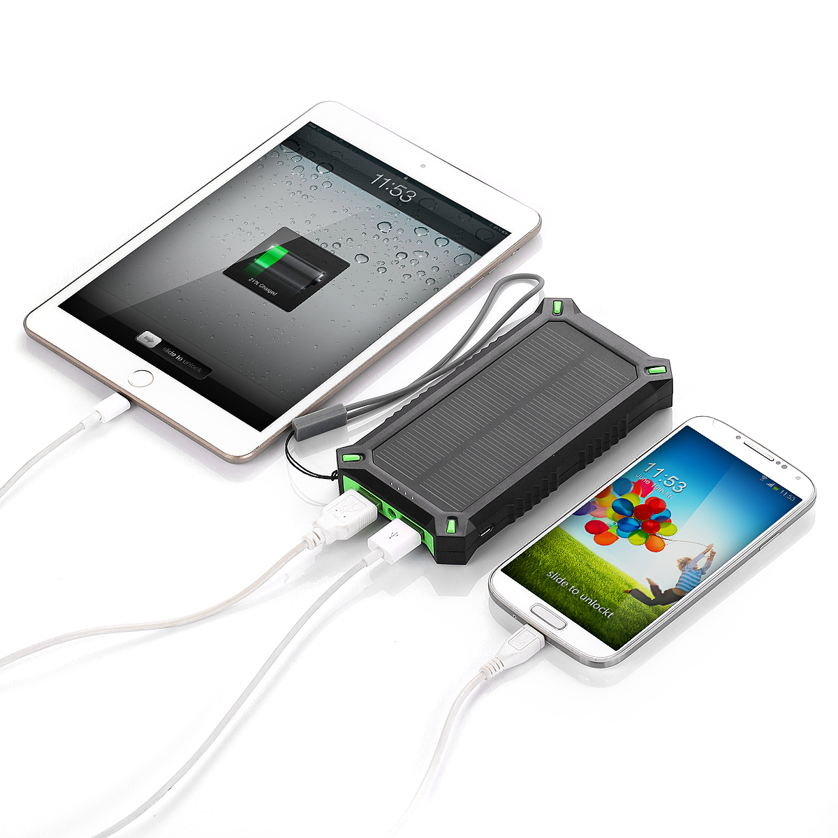 Details about Poweradd 8000mAh Solar Panel Charger Battery Power Bank ...