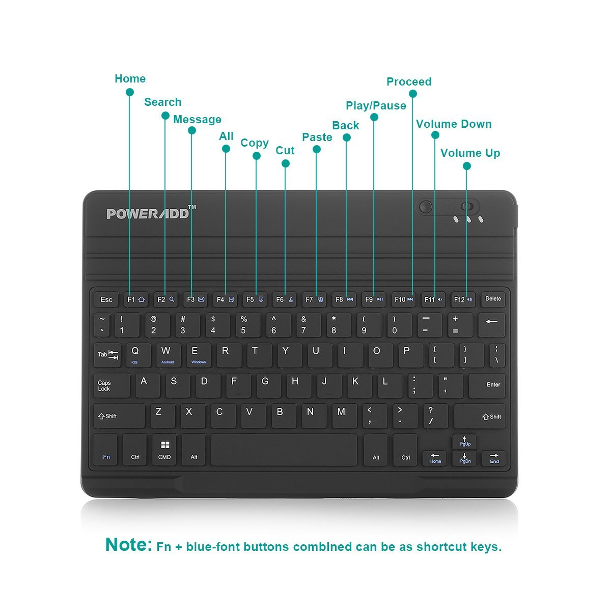 External Bluetooth Keyboard For Android Phone: Universal Wireless Bluetooth Keyboard For IOS Android Windows Tablets PC Laptops