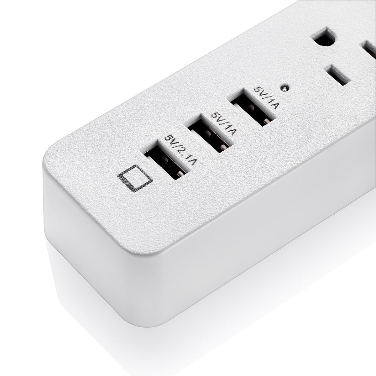 3 usb travel charger 3 outlet socket power strip surge protector lightningproof ebay. Black Bedroom Furniture Sets. Home Design Ideas